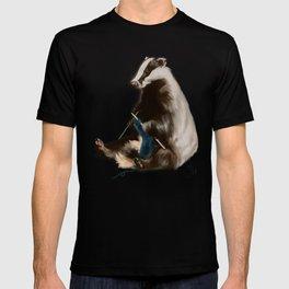 Badger Knitting a Scarf T-shirt