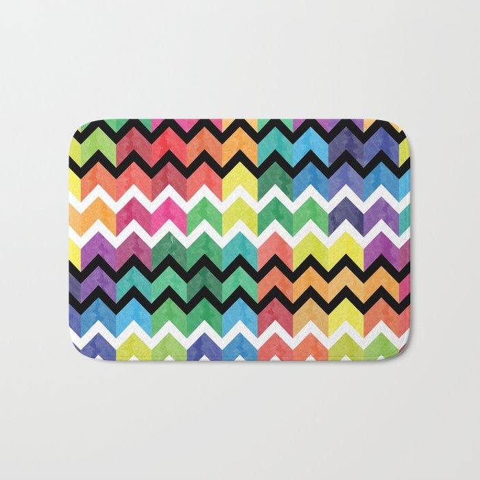 Watercolor Chevron Pattern VI Bath Mat