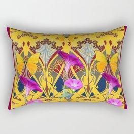Charcoal Grey & Fuchsia Floral Yellow Butterflies Art Rectangular Pillow