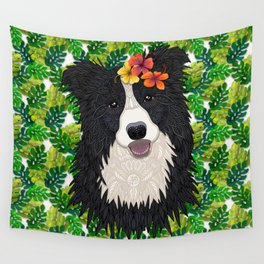 Tropical Border Collie Wall Tapestry