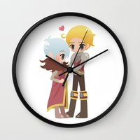 dragon age inquisition Wall Clocks featuring Dragon Age - Cullen and Trevelyan by Choco-Minto