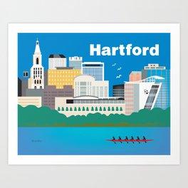 Hartford, Connecticut - Skyline Illustration by Loose Petals Art Print