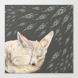 Fennec Fox Feather Dreams in Green & Grey Canvas Print