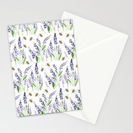 Lavender with Bees Stationery Cards
