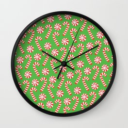 candy canes and peppermints Wall Clock