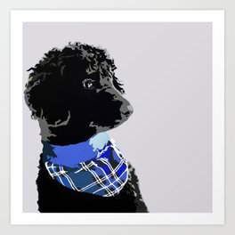 Black Standard Poodle in Blue Art Print