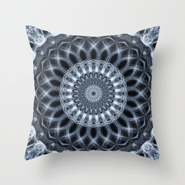 Silver and grey mandala Throw Pillow