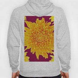 Golden Yellow Chrysanthemums Burgungy Art Design Hoody