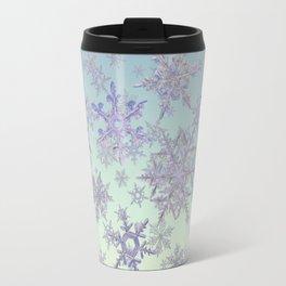 Snowflakes Embroidered on Misty Sky Travel Mug