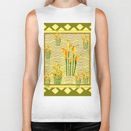 Moss Green Golden Calla Lilies Art Biker Tank