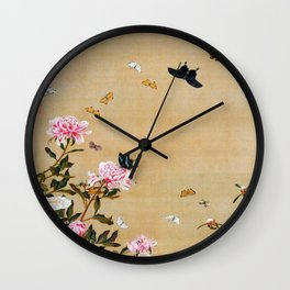 Butterflies And Peonies - Digital Remastered Edition Wall Clock