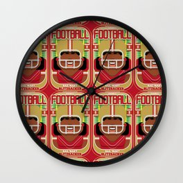 American Football Red and Gold - Hail-Mary Blitzsacker - Aretha version Wall Clock