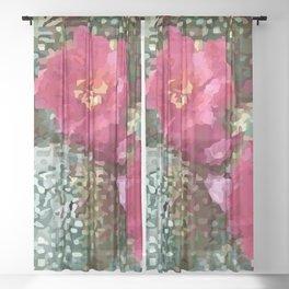 Scarlet Hedgehog Cactus Sheer Curtain