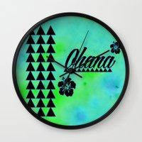 ohana Wall Clocks featuring My Ohana by Lonica Photography & Poly Designs