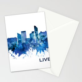 Liverpool England Skyline Blue Stationery Cards