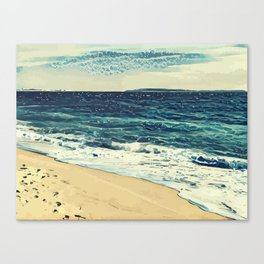 The beach and the sea at Cannes French Riveria Canvas Print