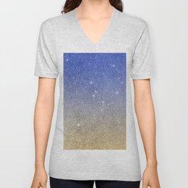 Modern sky blue faux gold ombre glitter Unisex V-Neck