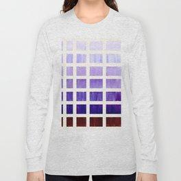 Purple Minimalist Mid Century Grid Pattern Staggered Square Matrix Watercolor Painting Long Sleeve T-shirt