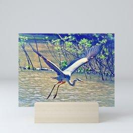 Flying (Blue Heron) Mini Art Print