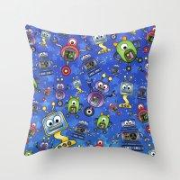 Little Robots  Throw Pillow