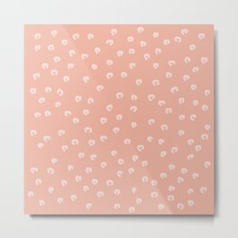 Tiny Hearts / Neutral, Peach, Blush Metal Print