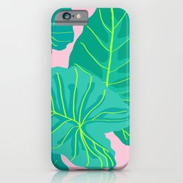 Giant Elephant Ear Leaves in Light Pink iPhone Case