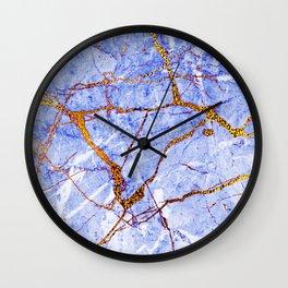 24-Karat Glitter Glam Gold Veins on Blue-Purple Marble Wall Clock