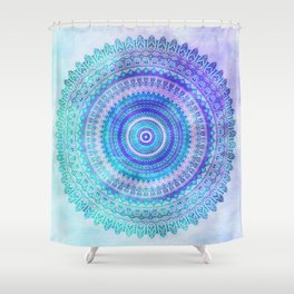 Blue Turquoise And Purple Watercolor Mandala Art Shower Curtain