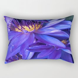 Exotic Turquoise Blue Lily Pads with Purple Accents Rectangular Pillow