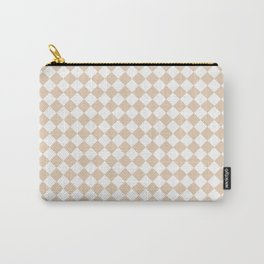 Small Diamonds - White and Pastel Brown Carry-All Pouch