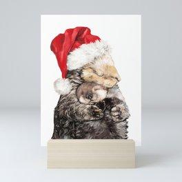 Christmas Otter Mother and Child Mini Art Print