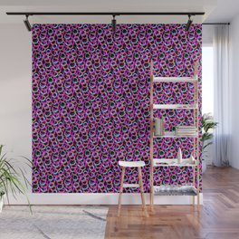 Fun Pattern: Hoops And Loops In Living Coral, Magenta And Cyan Wall Mural