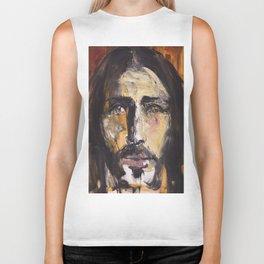 Christ with yellow eyes Biker Tank