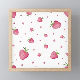Strawberry Pattern Framed Mini Art Print