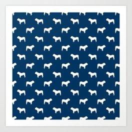 English Bulldog pattern navy and white minimal modern dog art bulldogs silhouette Art Print