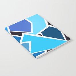 Retro Blue Mid-Century Vintage Minimalist Geometric Line Abstract Art Notebook