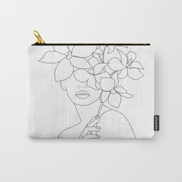 Minimal Line Art Woman with Orchids Carry-All Pouch