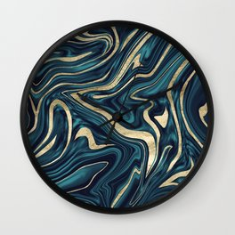 Teal Navy Blue Gold Marble #1 #decor #art #society6 Wall Clock