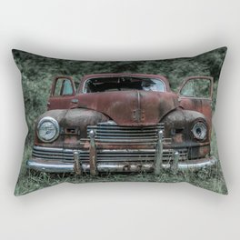 Rust Covered Classic Car Abandoned in Forest Rectangular Pillow