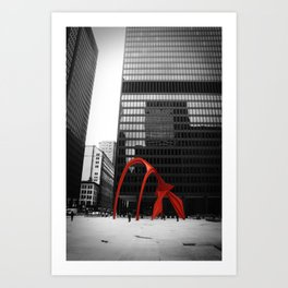 Chicago Calder Sculpture Illinois Black and White Photo Art Print