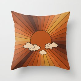 Retro Sunshine Throw Pillow