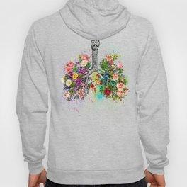 Flowers Lungs Skeleton Watercolor Hoody