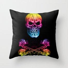 Skull And Crossbones Rainbow Throw Pillow