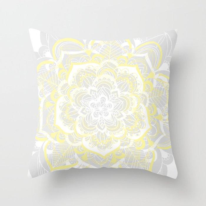 Woven Fantasy - Yellow, Grey & White Mandala Throw Pillow