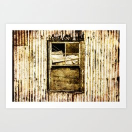 Window in a tin wall Art Print
