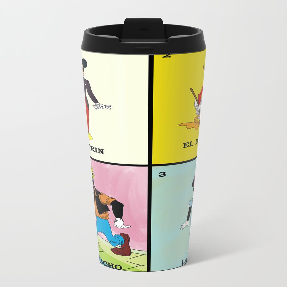 Mickey And Friends Loteria Metal Travel Mug by Pinguinodesigns MTM9027831