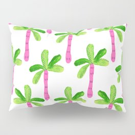 Watercolor Palm Trees in Pink Pillow Sham