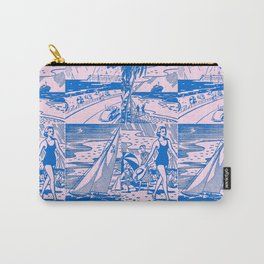 Midcentury Vacation Postcards in Pink + Blue Carry-All Pouch