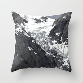 Spectacular Snow-Covered Mountains Black White Art Photo Throw Pillow