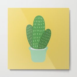 Cute Cactus Illustration Metal Print